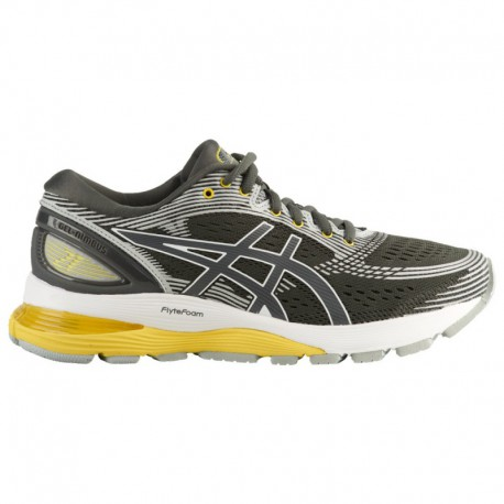 Asics Gel Nimbus 21 Mens MID Grey White ASICS® Gel-Nimbus 21 - Women's Dark Grey/Mid Grey/Yellow